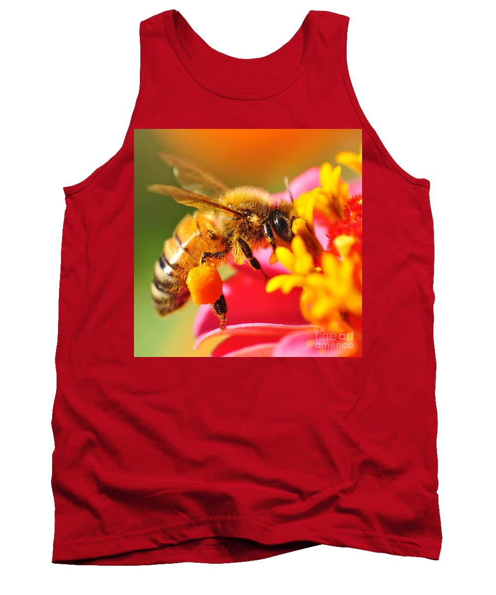 Photography Tank Top featuring the photograph Bee Laden With Pollen 2 By Kaye Menner by Kaye Menner