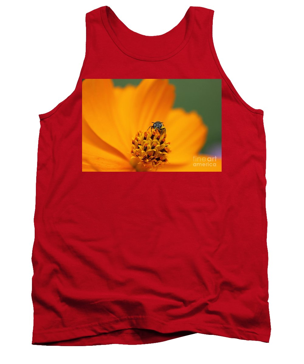 Cosmo Tank Top featuring the photograph Bee On Cosmo by Lisa L Silva