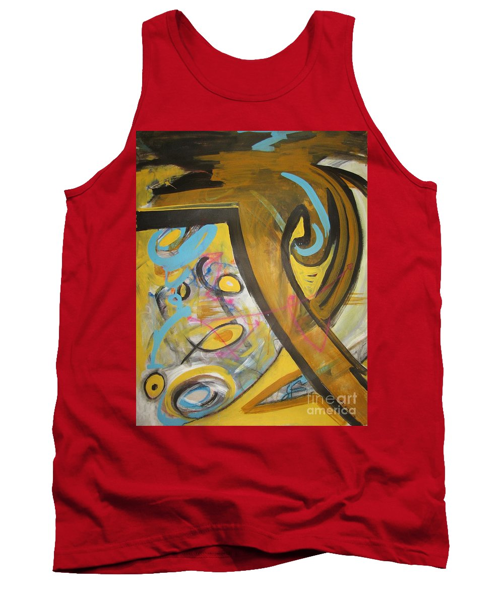 Abstract Tank Top featuring the painting Being Easy Original Abstract Colorful Figure Painting For Sale Yellow Umber Blue Pink by Seon-Jeong Kim