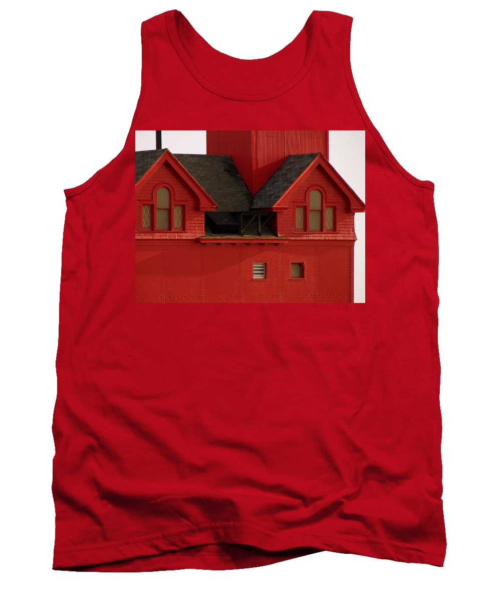 Windows Tank Top featuring the photograph Big Red Holland Harbor Light Michigan by Michelle Calkins
