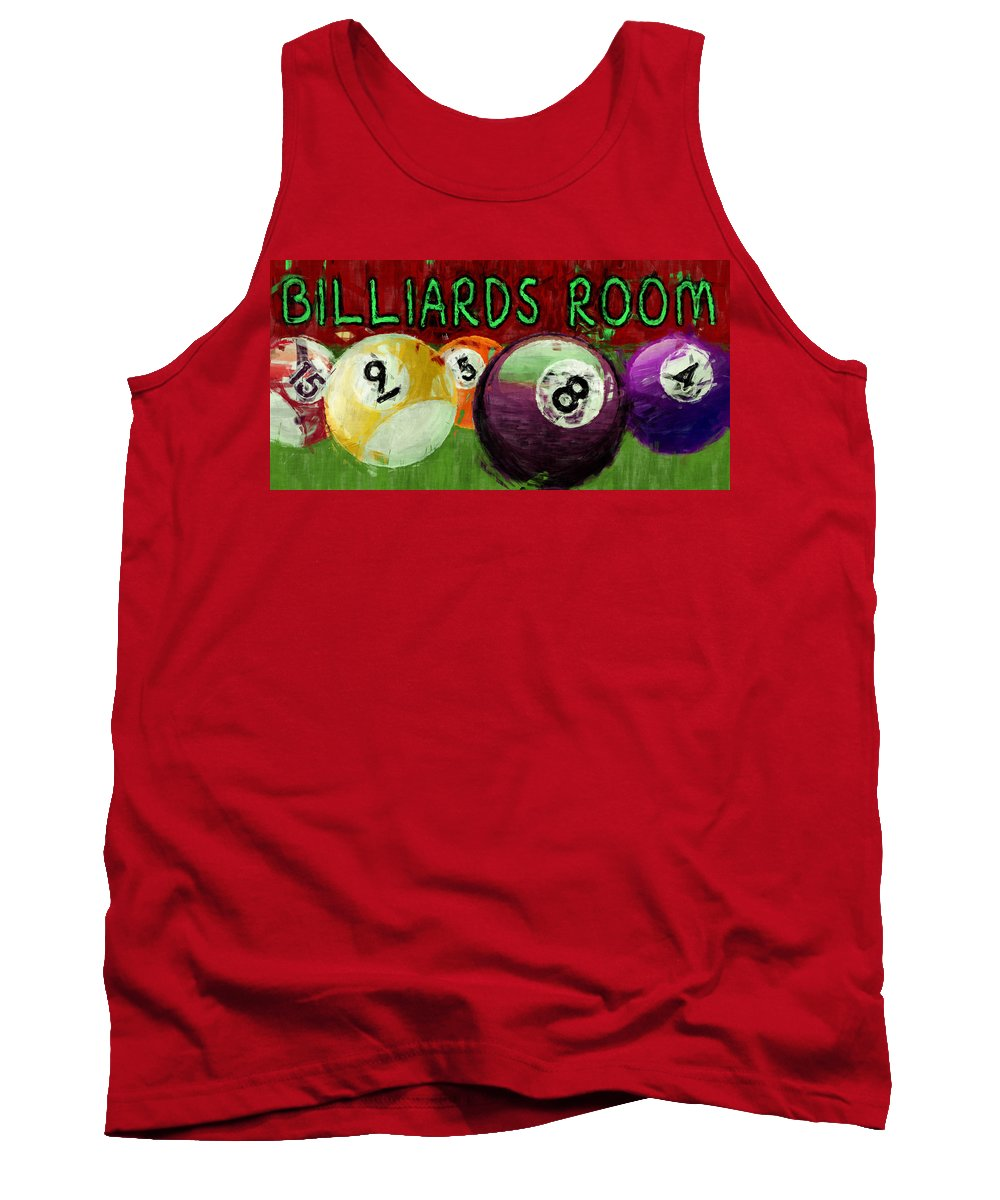 Billiards Tank Top featuring the digital art Billiards Room Abstract by David G Paul