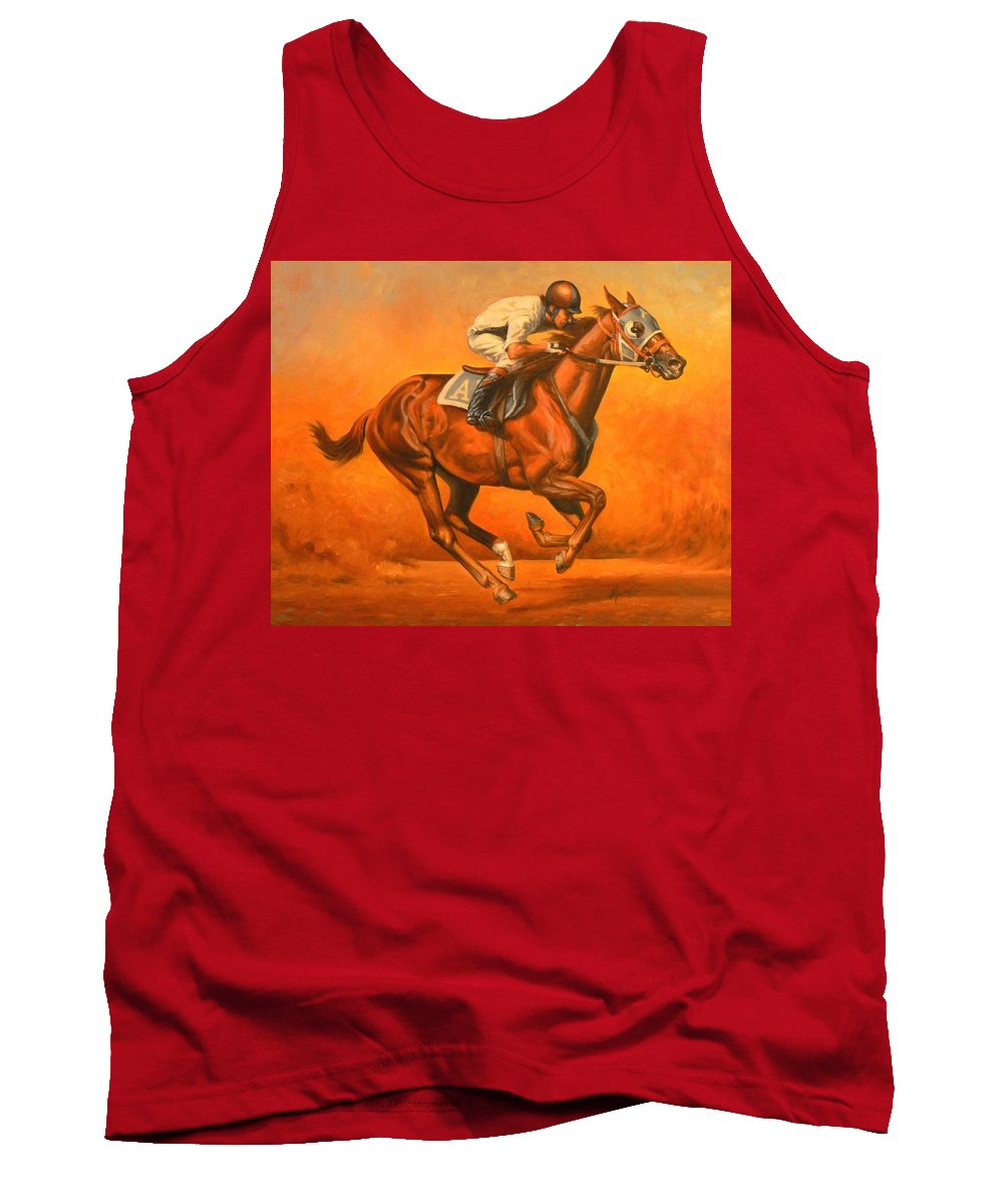 Horses Tank Top featuring the painting Blazin Fast by Kerry Nelson