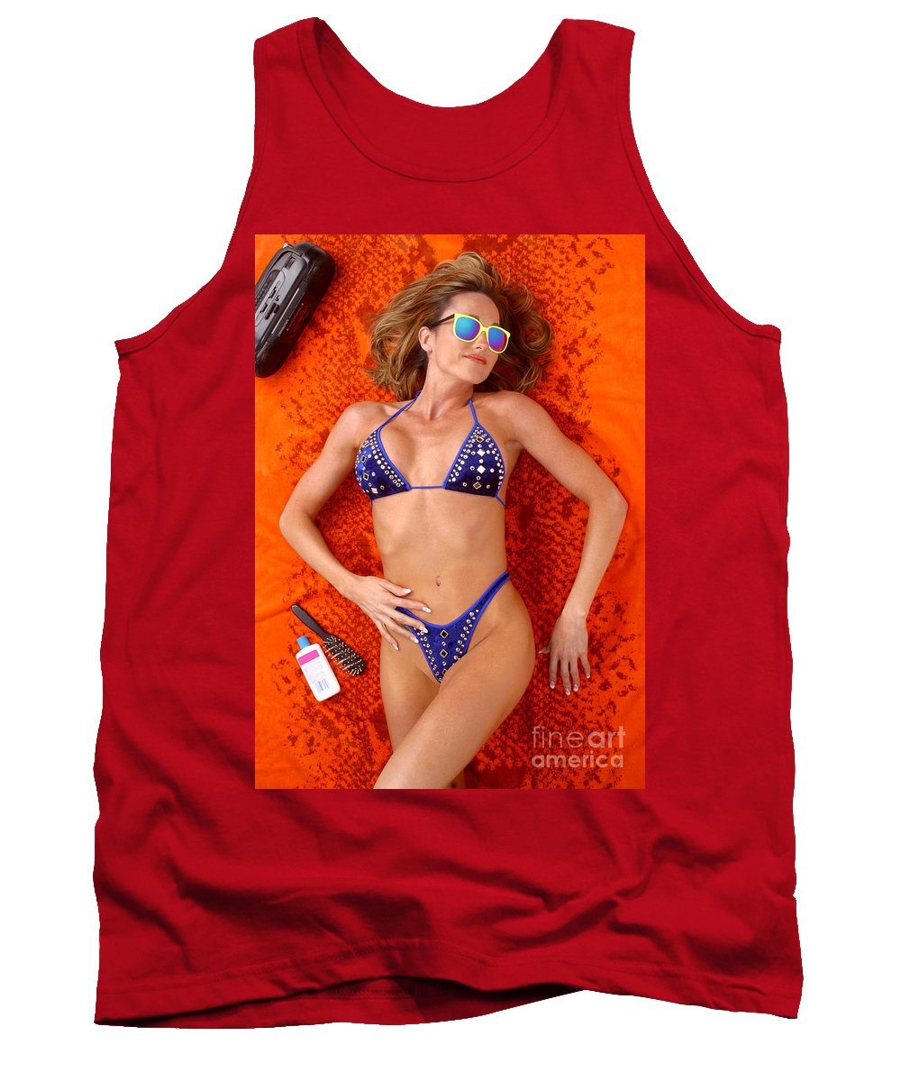 Model Tank Top featuring the photograph Blue Bikini 16-2p by Gary Gingrich Galleries
