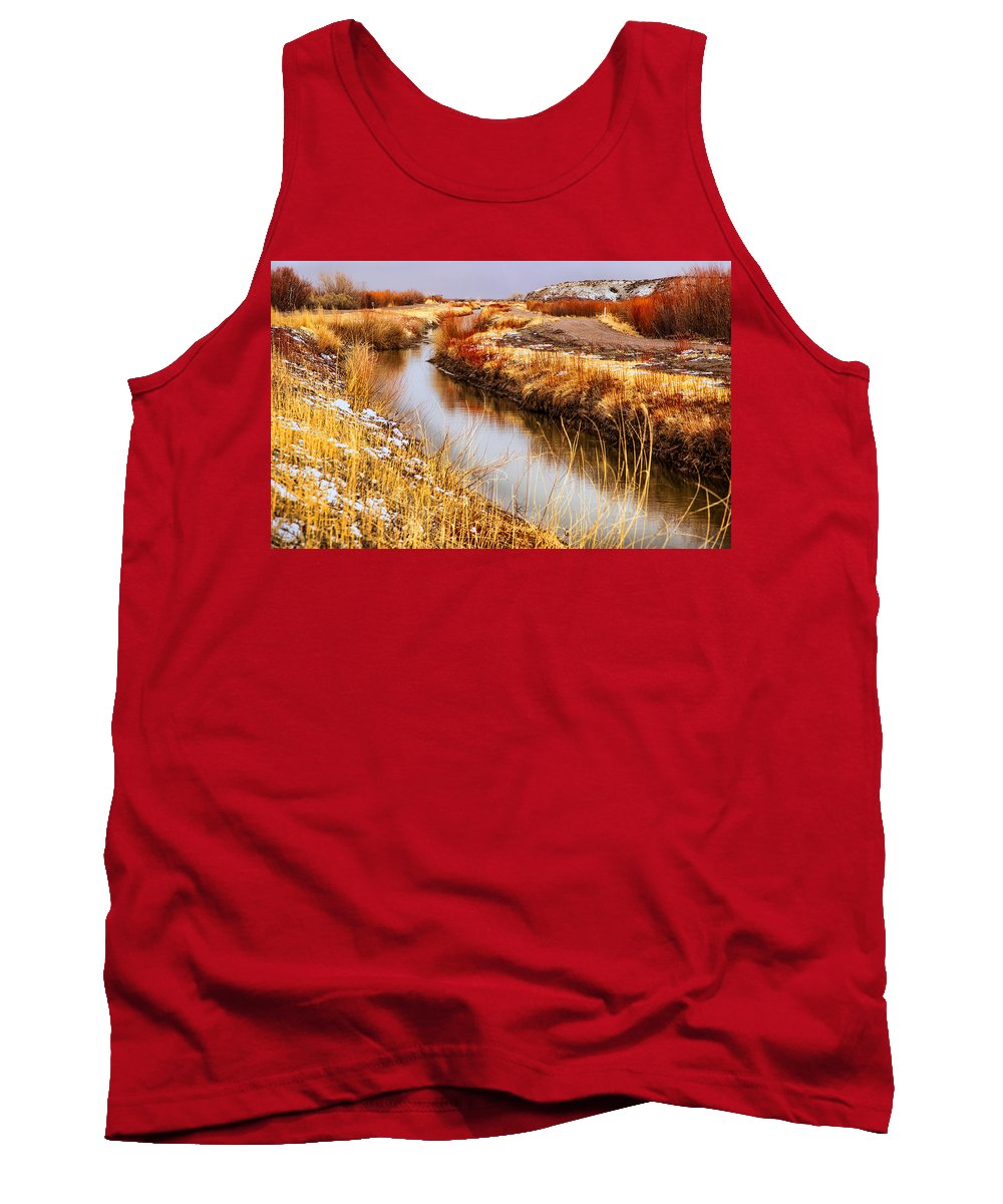Bosque Del Apache Tank Top featuring the photograph Bosque Canal by Diana Powell