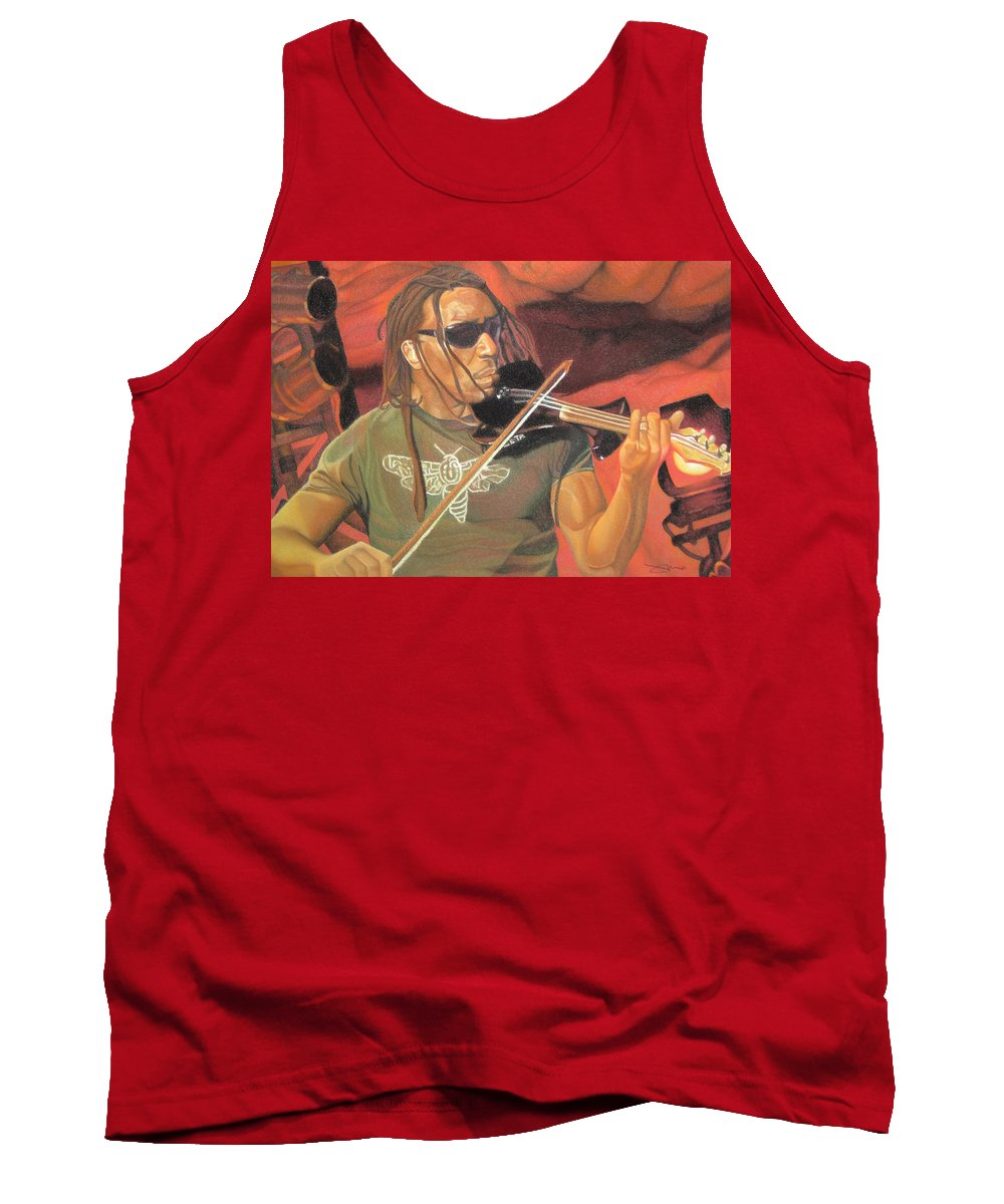 Boyd Tinsley Tank Top featuring the drawing Boyd Tinsley At Red Rocks by Joshua Morton