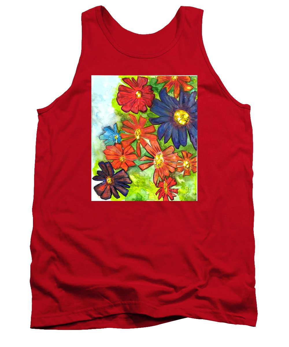Bright Watercolor Flowers Tank Top featuring the painting Bright Flower Bunch by Teresa Hay