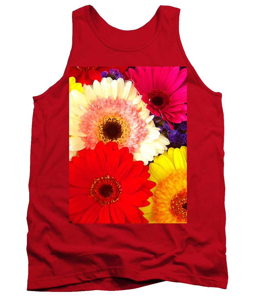 Daisies Tank Top featuring the painting Brightly Colored Gerbers by Amy Vangsgard