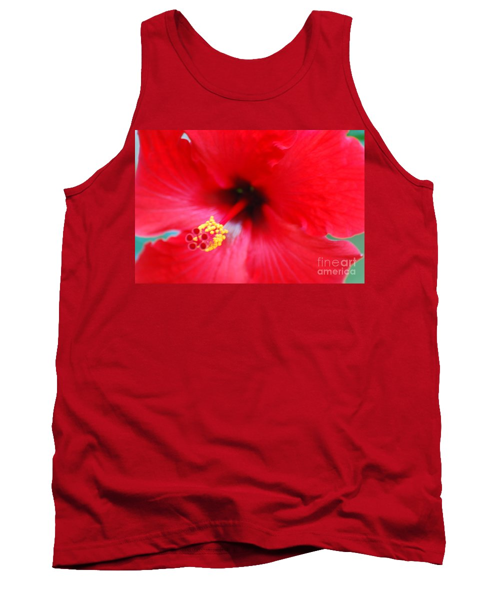 Hibiscus Tank Top featuring the photograph Brilliant Red Hibiscus by DejaVu Designs