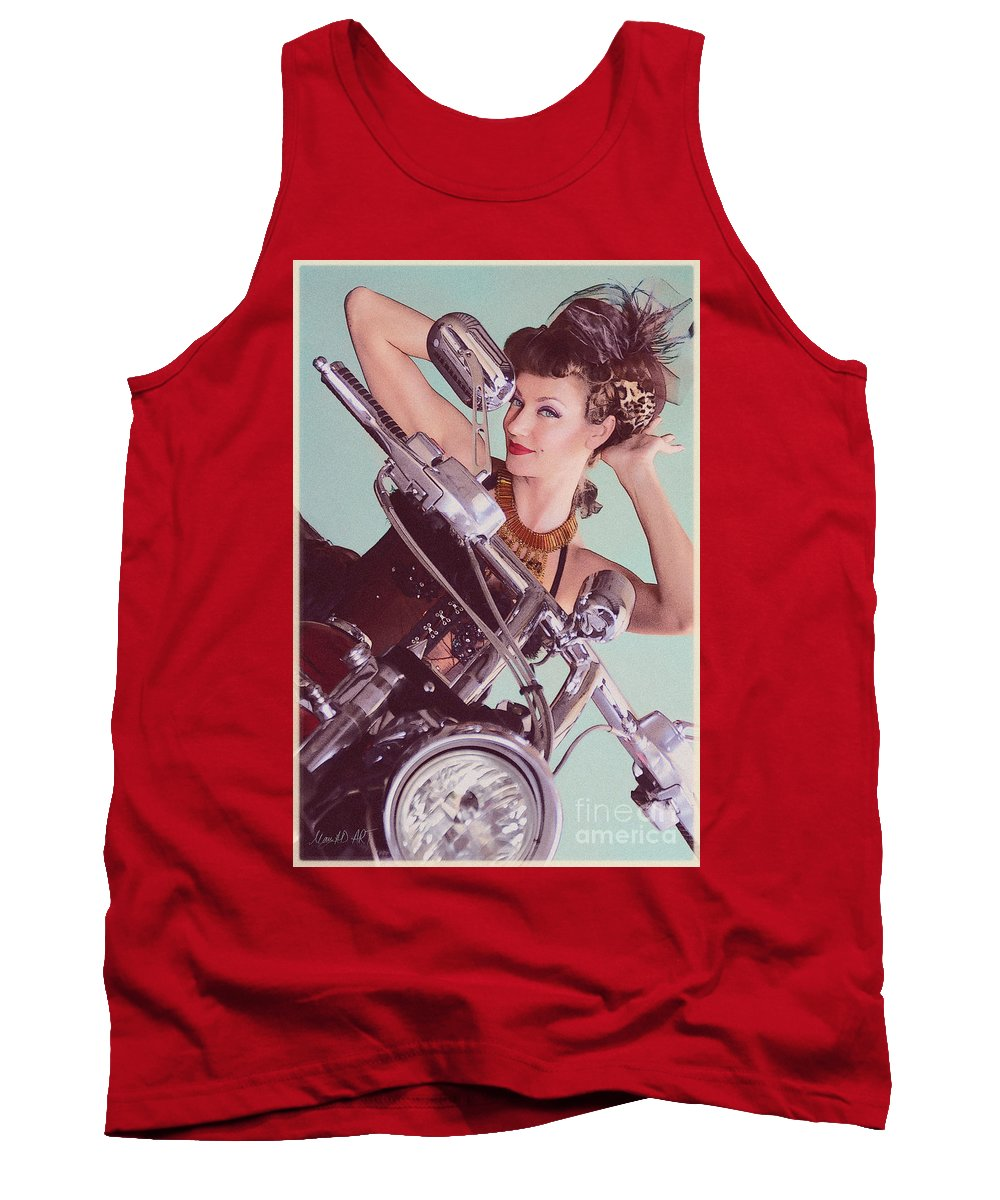 Burlesque Tank Top featuring the photograph Burlesque Biker -portrait by MAD Art and Circus