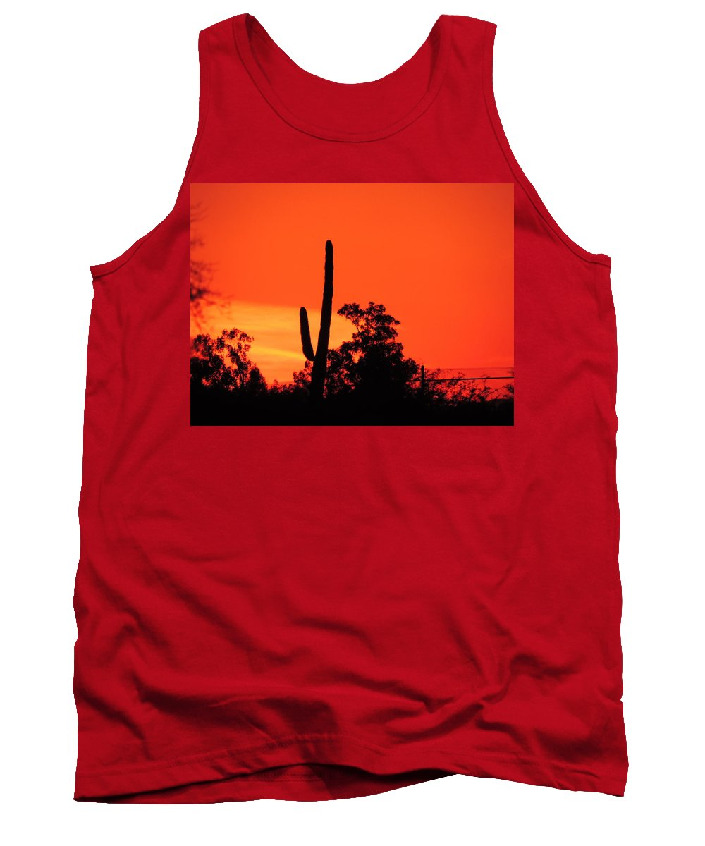 Color Tank Top featuring the photograph Cactus Against A Blazing Sunset by Bill Tomsa