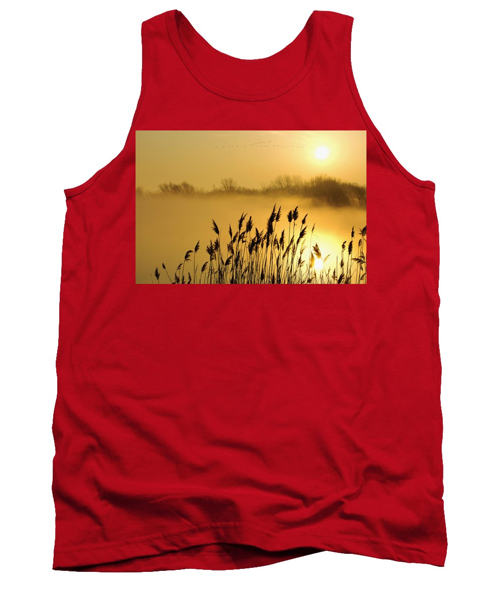 Bird Tank Top featuring the photograph Canada Geese In Flight At Sunrise by Steeve Marcoux