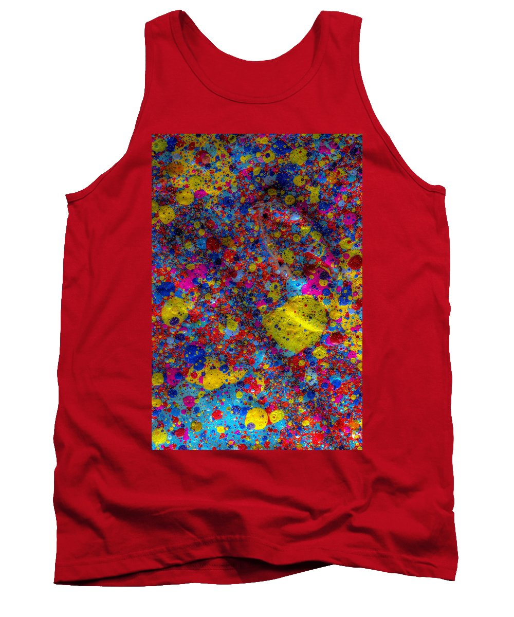 Splatter Tank Top featuring the painting Candy Colored Blast by Sean Corcoran