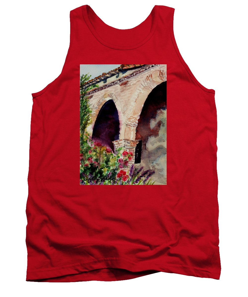 Watercolor Tank Top featuring the painting Capistrano Arches by Mary Benke