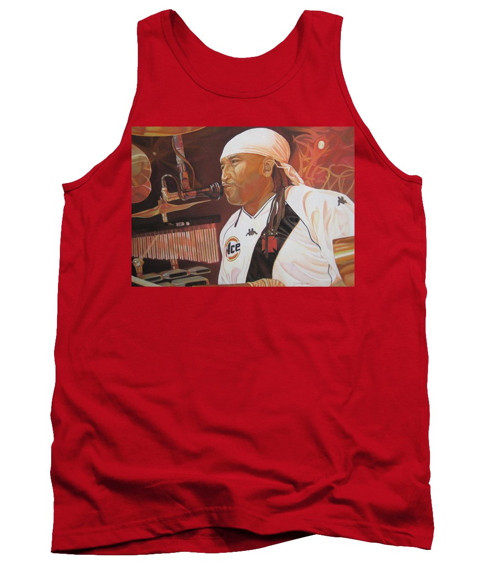 Carter Beauford Tank Top featuring the drawing Carter Beauford At Red Rocks by Joshua Morton