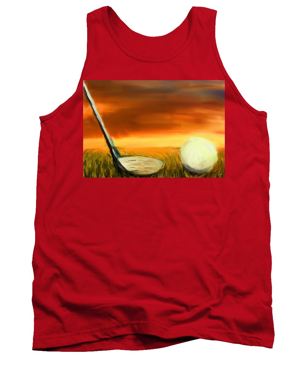 Golf Tank Top featuring the digital art Chance To Hit by Lourry Legarde
