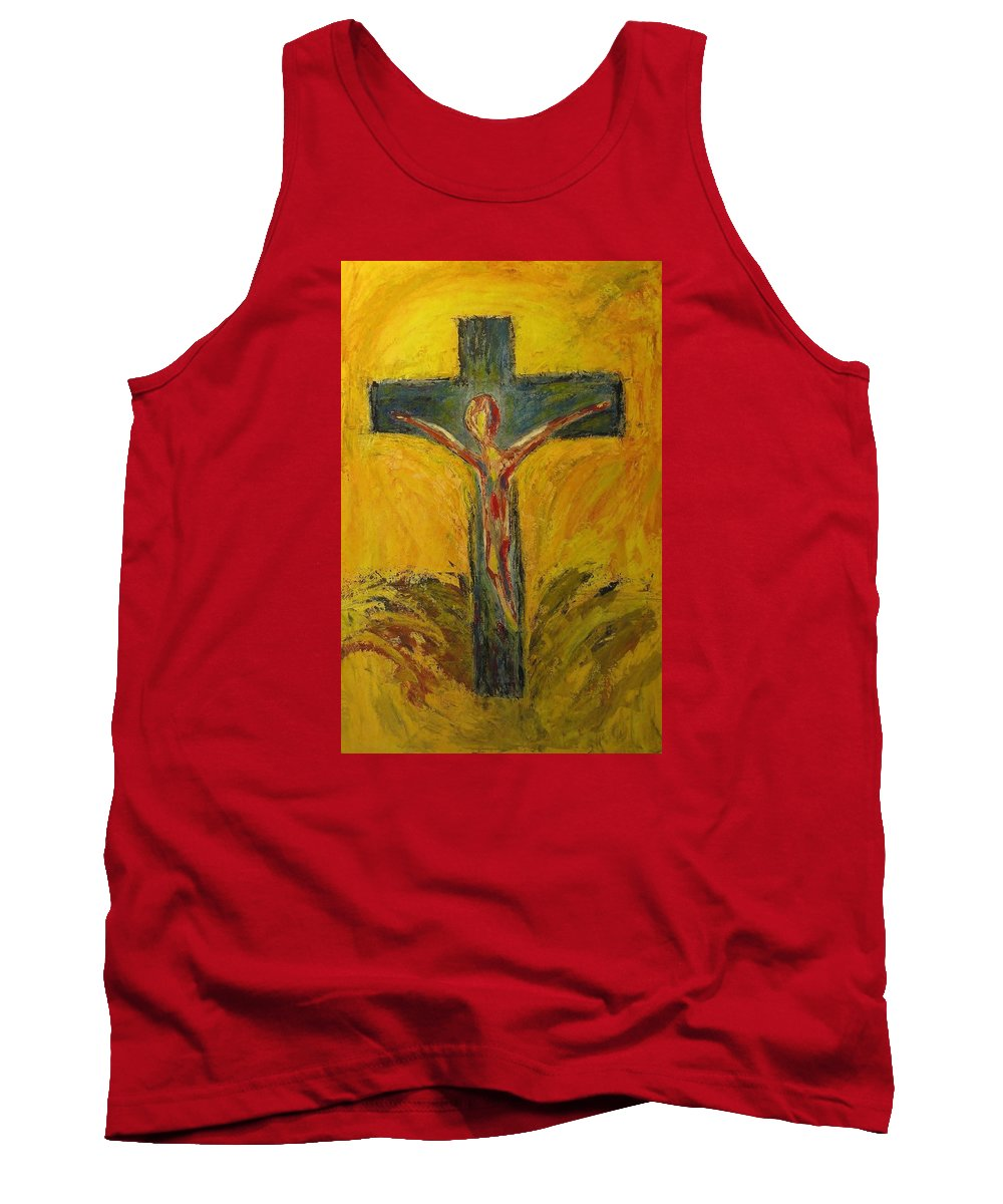 Southwestern Tank Top featuring the painting Christ On The Cross by Dave Brown