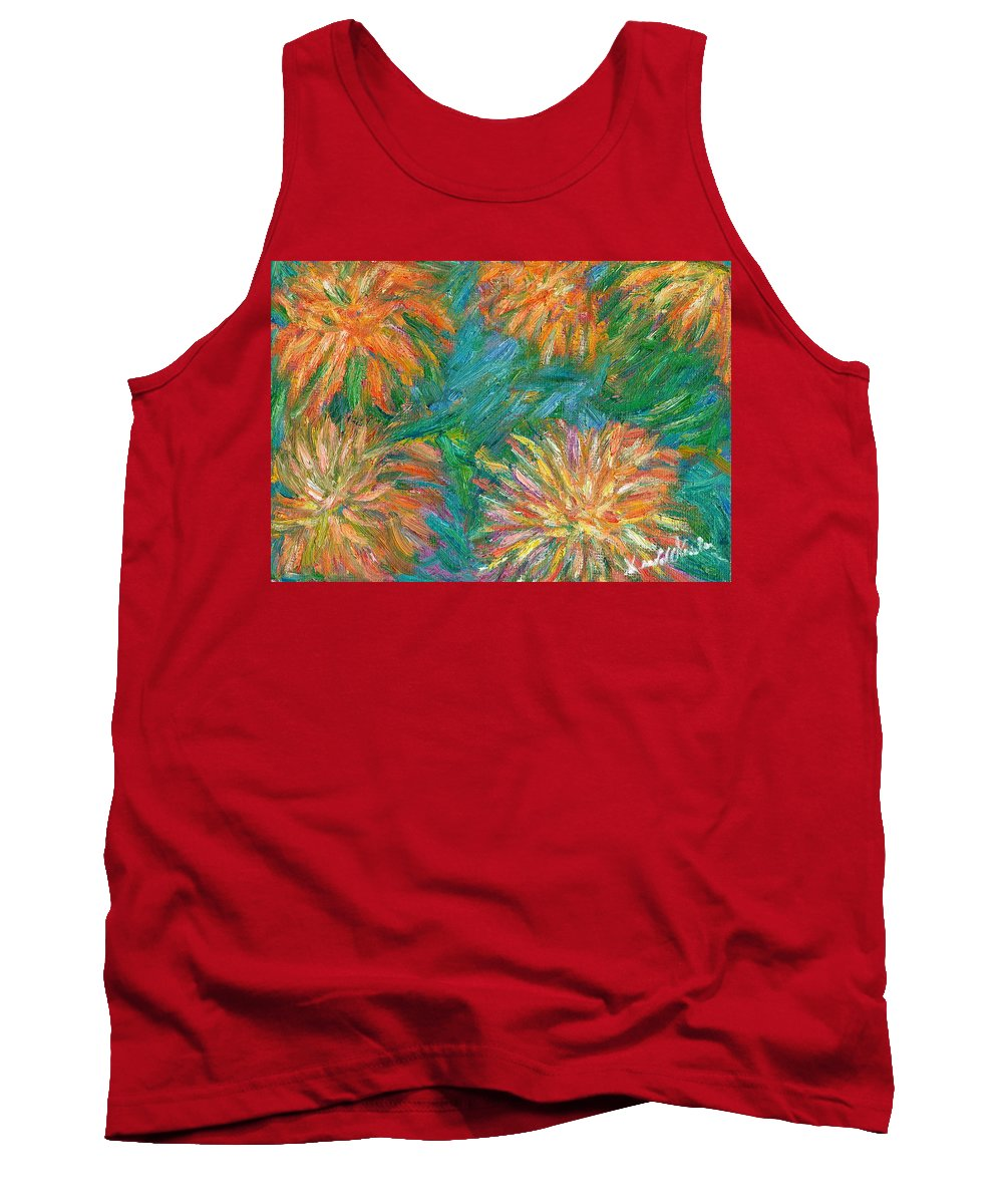 Floral Tank Top featuring the painting Chrysanthemum Shift by Kendall Kessler