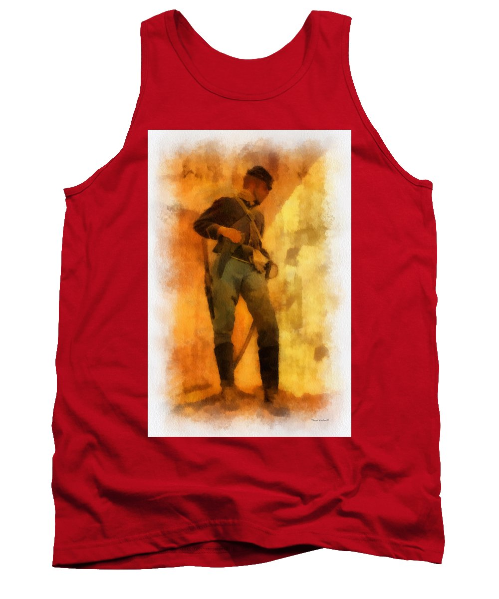 Civil War Tank Top featuring the photograph Civil War Soldier Photo Art by Thomas Woolworth