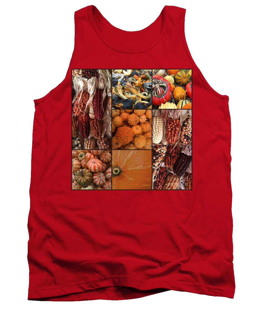 Collage Tank Top featuring the photograph Collage - Corn - Pumpkins - Gourds - Elena Yakubovich by Elena Yakubovich