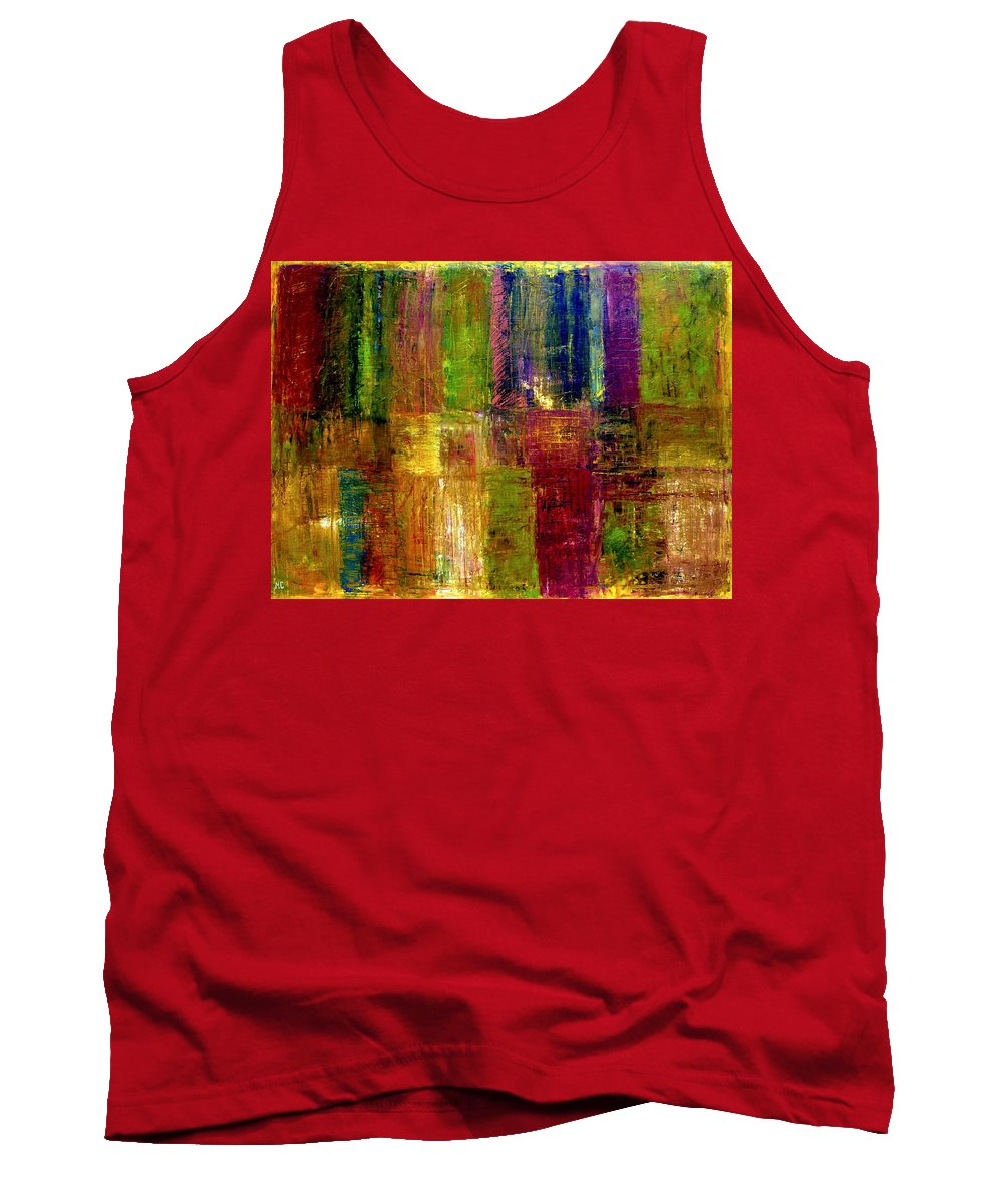 Abstract Tank Top featuring the painting Color Panel Abstract by Michelle Calkins