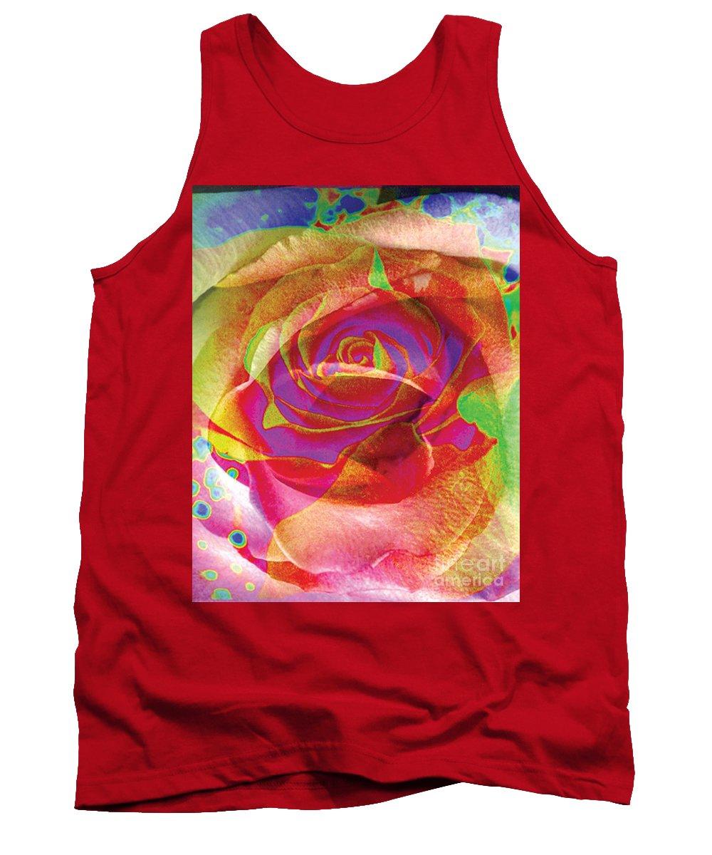 Rose Flower Tank Top featuring the digital art Colorfull Rose by Yael VanGruber