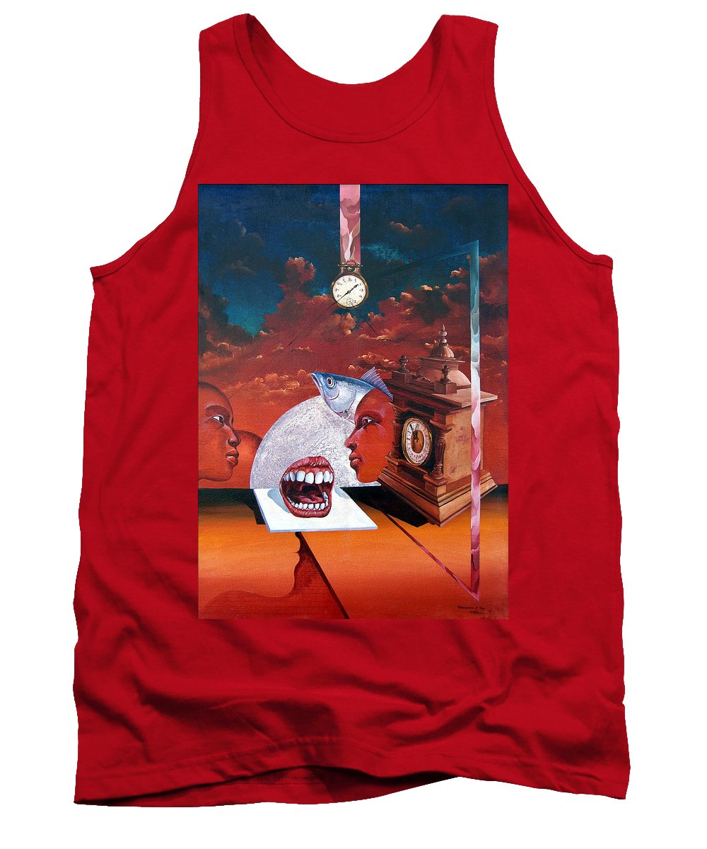 Otto+rapp Surrealism Surreal Fantasy Time Clocks Watch Consumption Tank Top featuring the painting Consumption Of Time by Otto Rapp