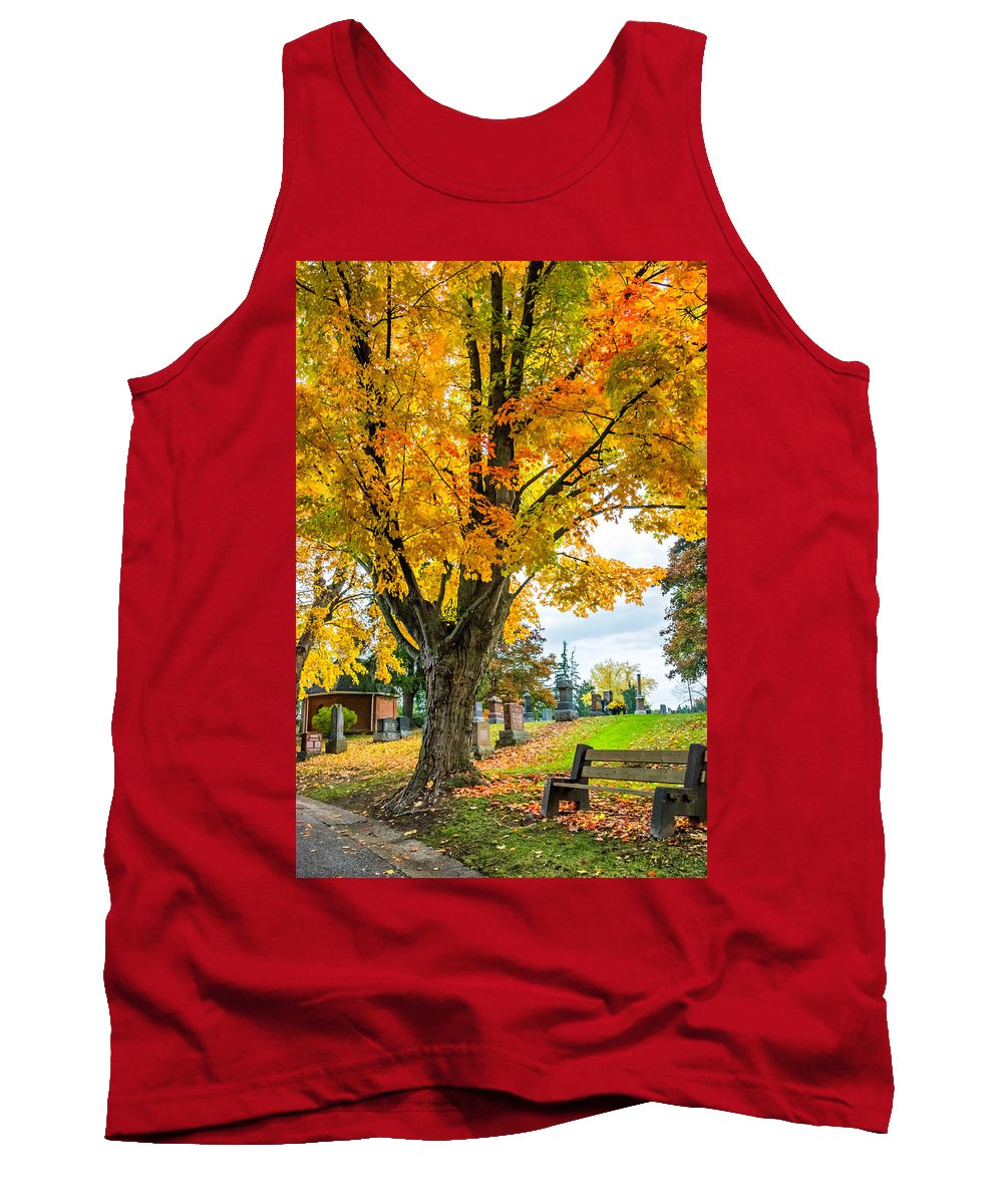 Andscape Tank Top featuring the photograph Contemplation Bench by Steve Harrington