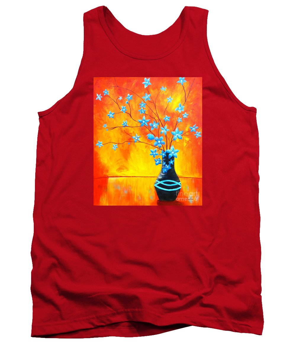 Cool Blue On Fire Tank Top featuring the painting Cool Blue On Fire by Alicia Fowler
