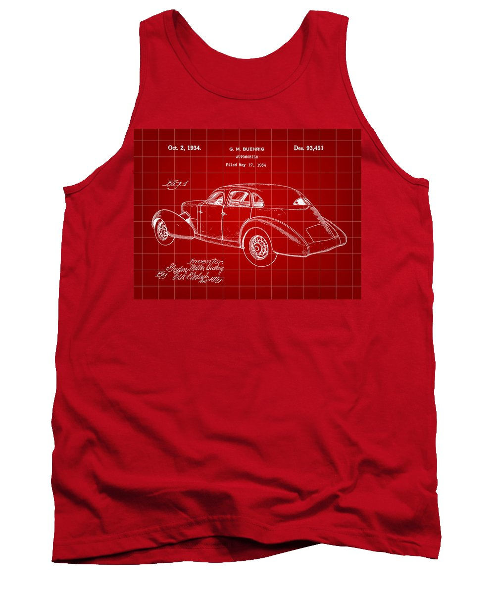 Cord Tank Top featuring the digital art Cord Automobile Patent 1934 - Red by Stephen Younts