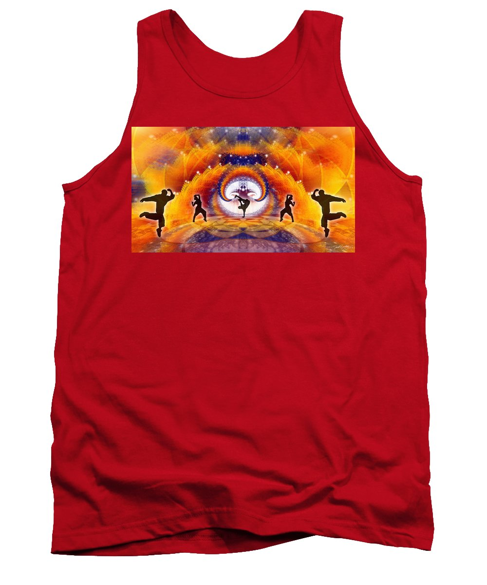 Cosmic Spiral Ascension Tank Top featuring the digital art Cosmic Spiral Ascension 54 by Derek Gedney