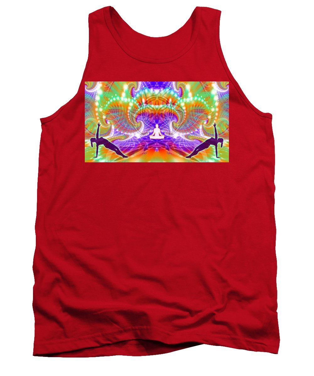 Cosmic Spiral Ascension Tank Top featuring the digital art Cosmic Spiral Ascension 60 by Derek Gedney