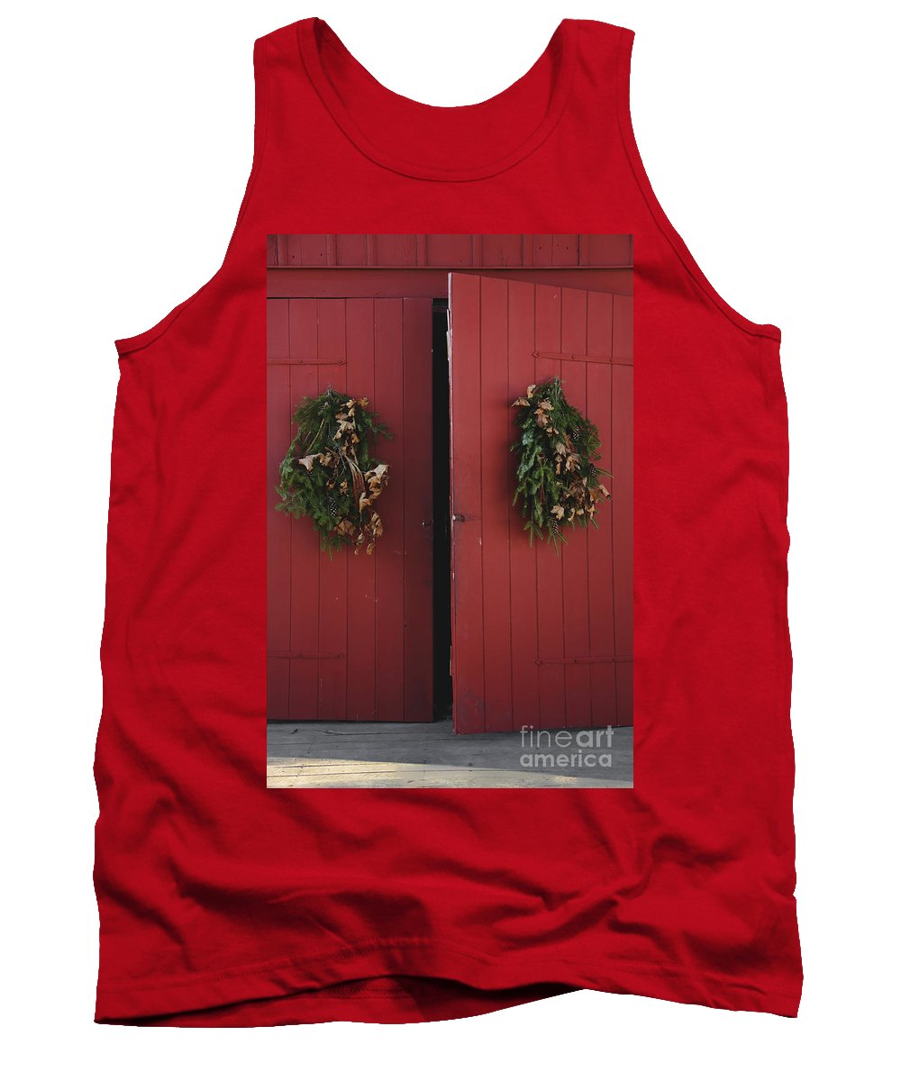 Doors; Red; Open; Barn; Entrance; Wood; Greens; Evergreen; Fir; Wreath; Christmas; Country; House; Wooden; Home; Holiday; Seasonal; Festive Tank Top featuring the photograph Country Christmas by Margie Hurwich