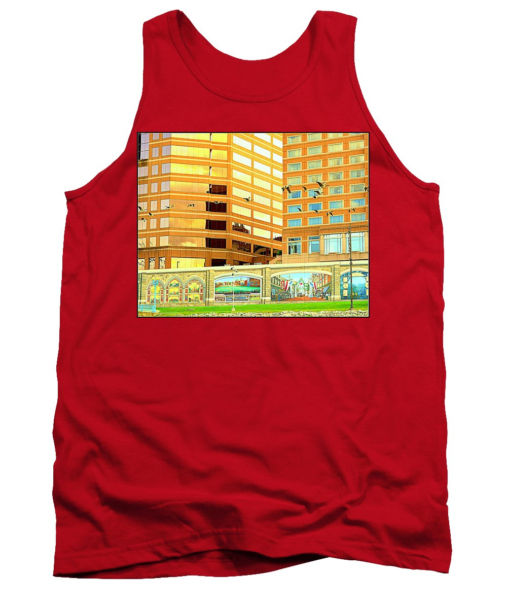 Geese Tank Top featuring the photograph Covington Kentucky View From The Ferry by Kathy Barney