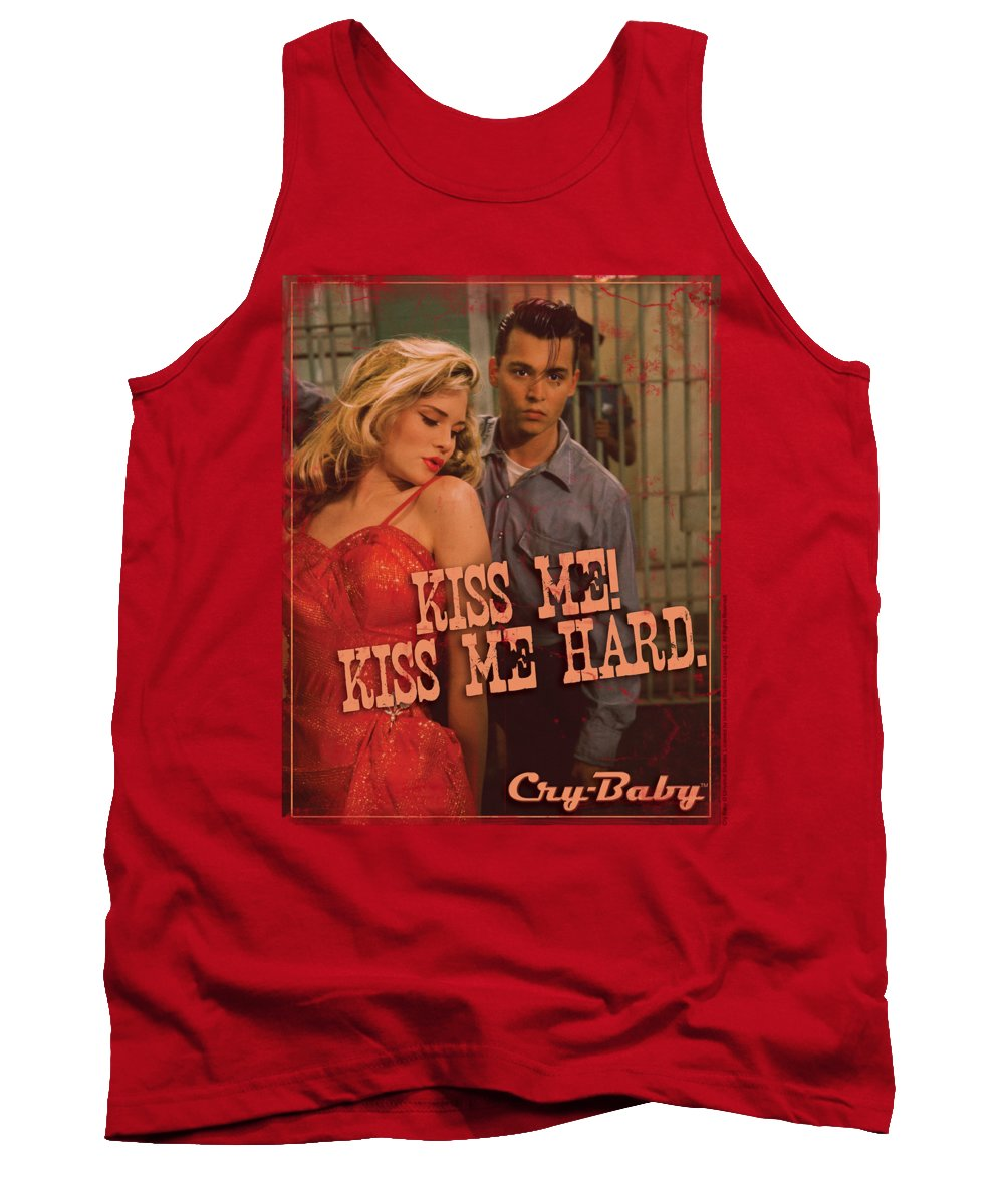 Cry Baby Tank Top featuring the digital art Cry Baby - Kiss Me by Brand A