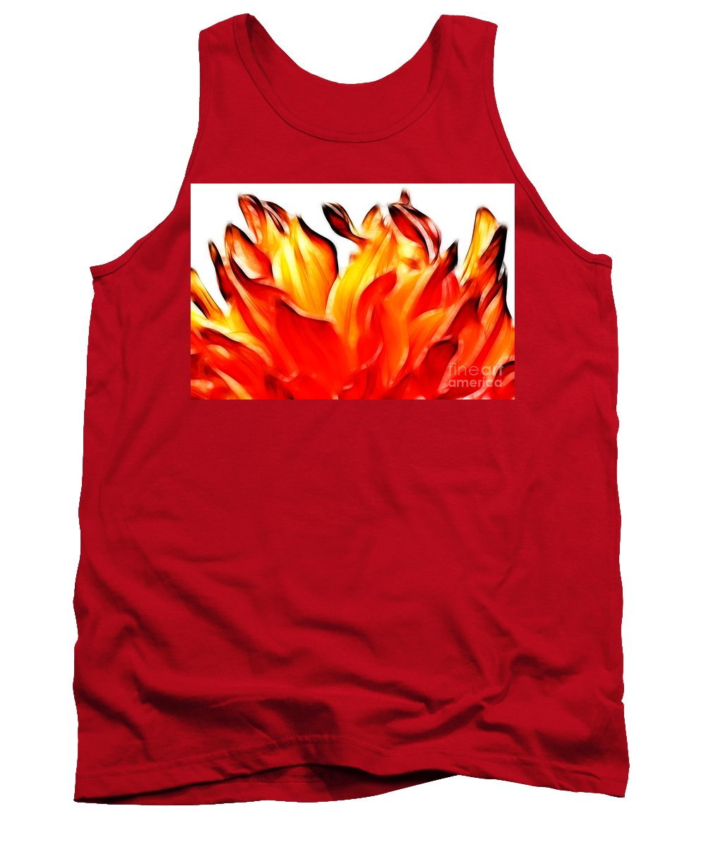 Dahlia Tank Top featuring the photograph Dahlia On Fire by Brothers Beerens