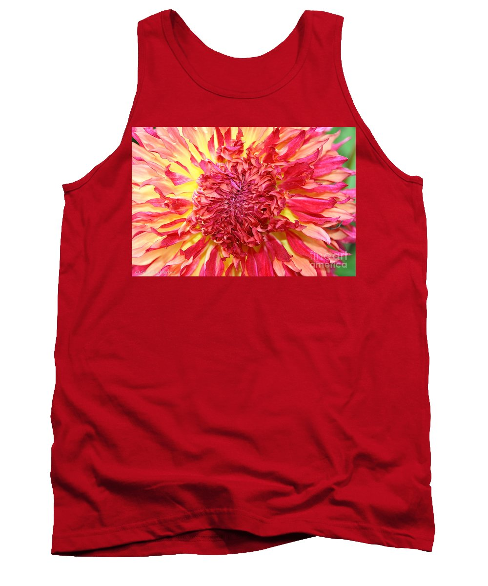 Flower Tank Top featuring the photograph Dahlia Pom by Susan Herber