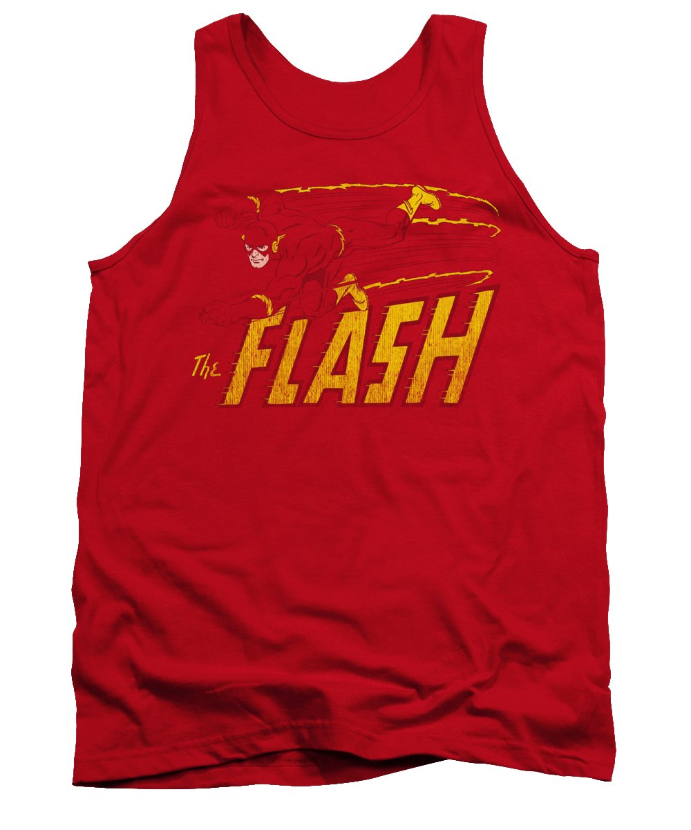 Dc Comics Tank Top featuring the digital art Dc - Flash Speed Distressed by Brand A