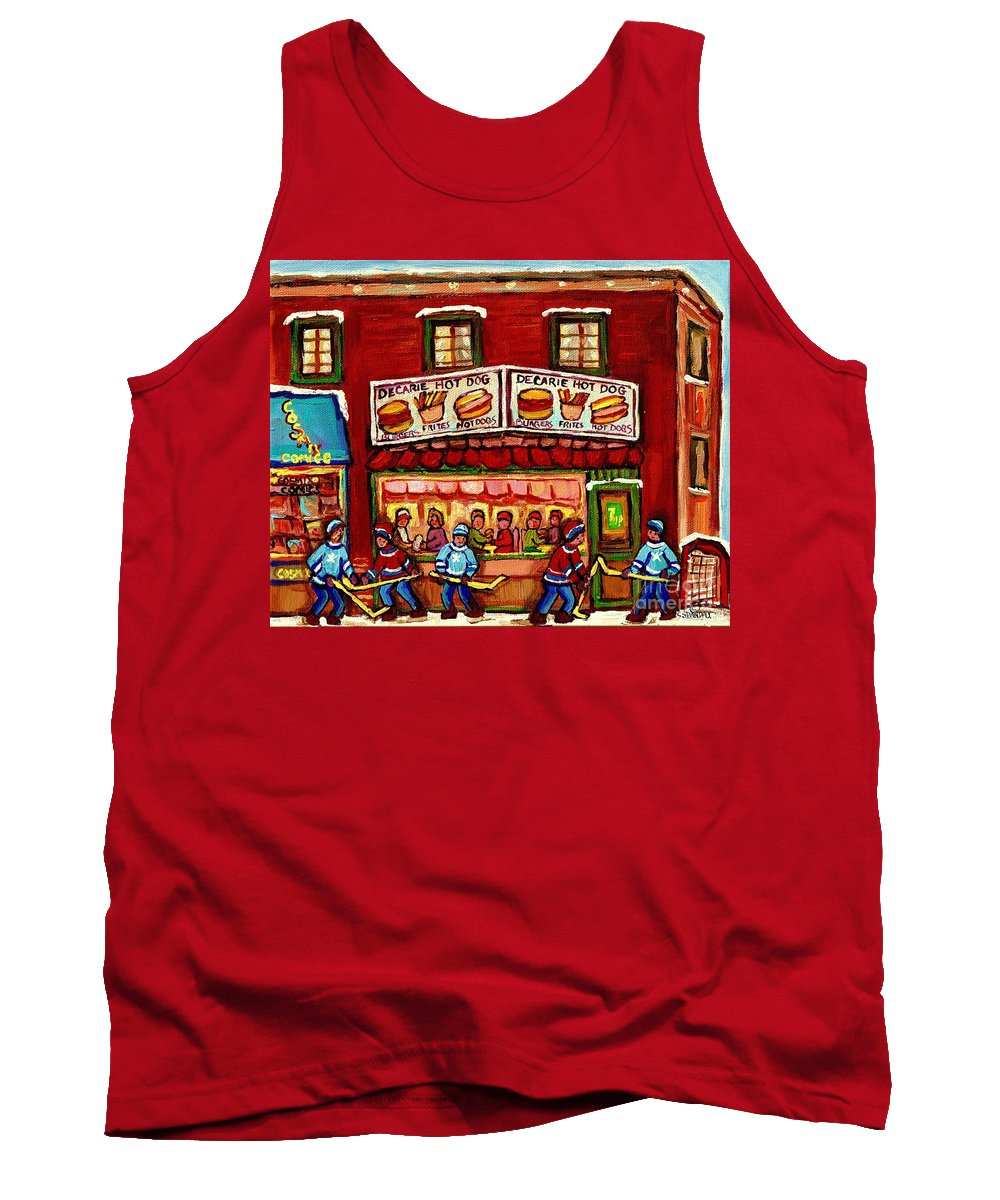Montreal Tank Top featuring the painting Decarie Hot Dog Restaurant Cosmix Comic Store Montreal Paintings Hockey Art Winter Scenes C Spandau by Carole Spandau