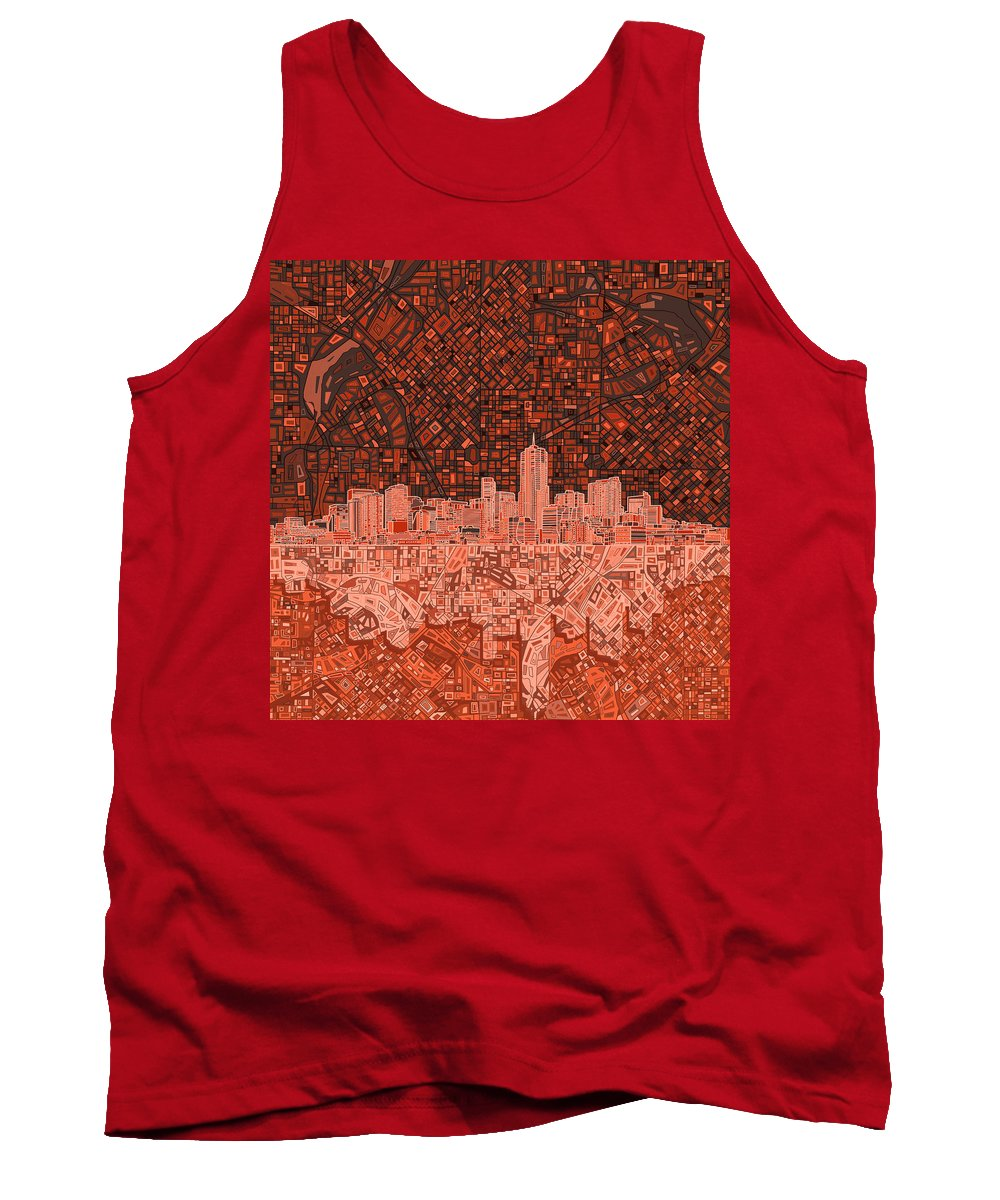 Denver Skyline Tank Top featuring the painting Denver Skyline Abstract 6 by Bekim Art