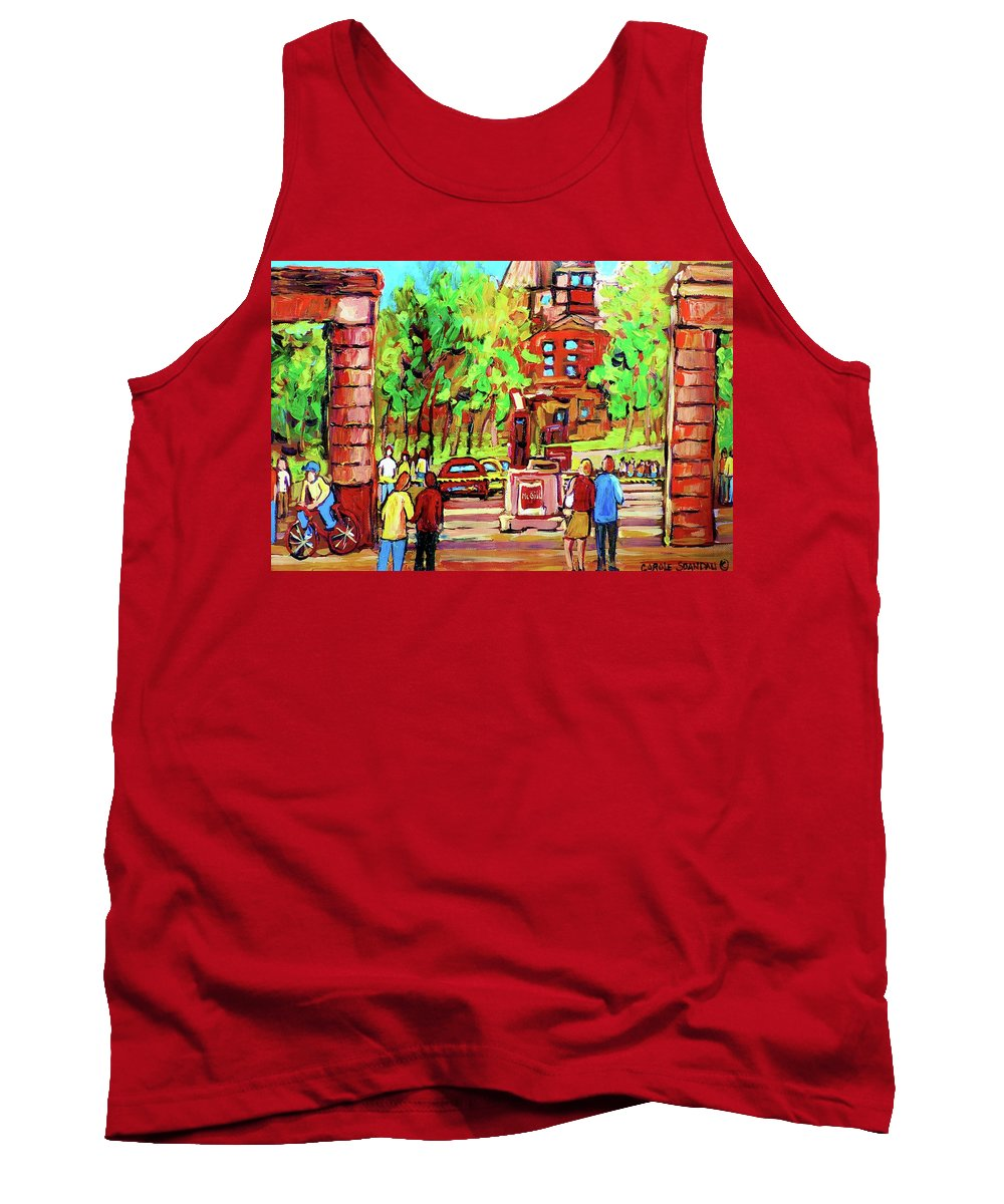 Montreal Tank Top featuring the painting Downtown Montreal Mcgill University Streetscenes by Carole Spandau