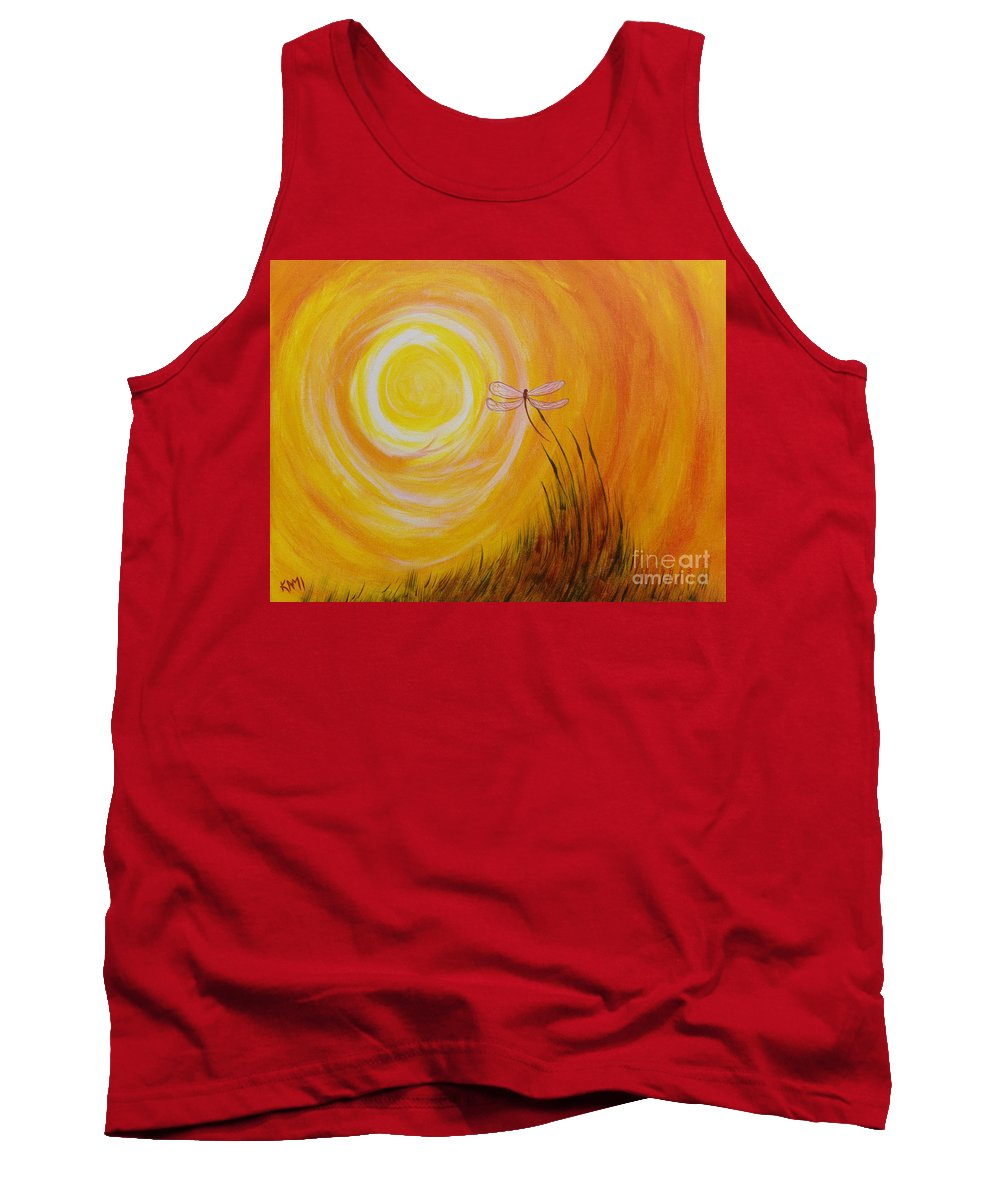 Sun Tank Top featuring the painting Dragonfly Sun by Kami Catherman