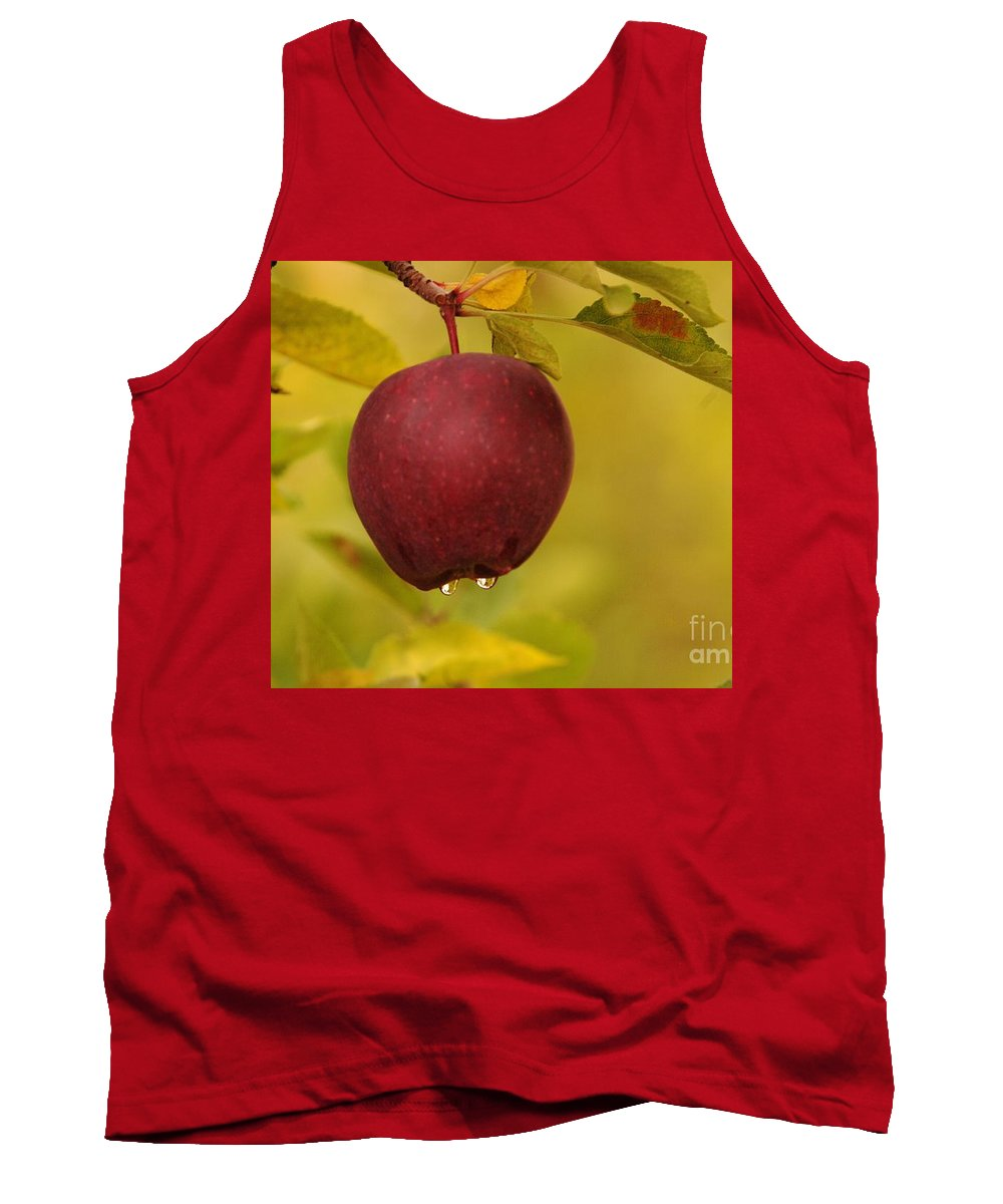 Fruit Tank Top featuring the photograph Droplets From A Red Apple  by Jeff Swan