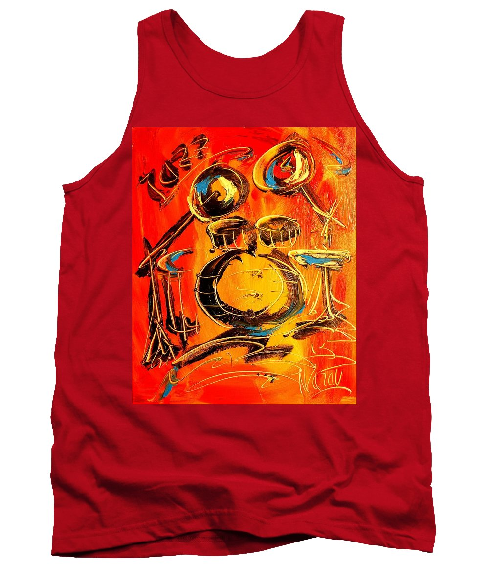 Tank Top featuring the painting Drums by Mark Kazav
