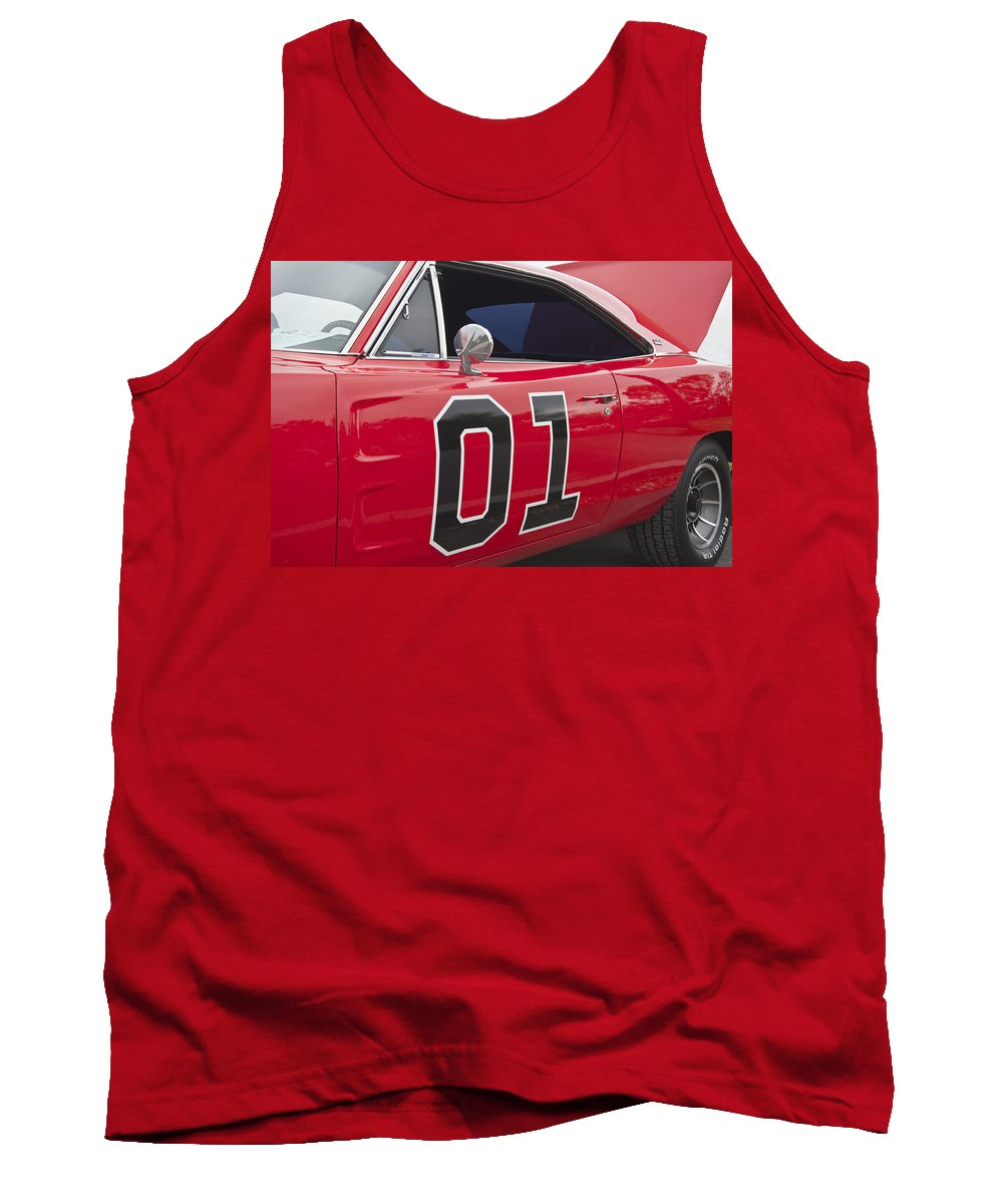 General Tank Top featuring the photograph Dukes Of Hazard General Lee by Glenn Gordon