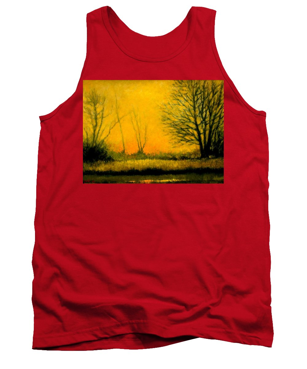 Landscape Tank Top featuring the painting Dusk At The Refuge by Jim Gola