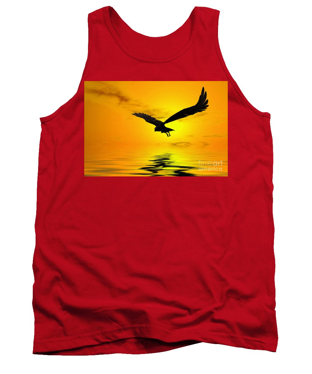 Eagle Sunset Canvas Tank Top featuring the digital art Eagle Sunset by John Edwards