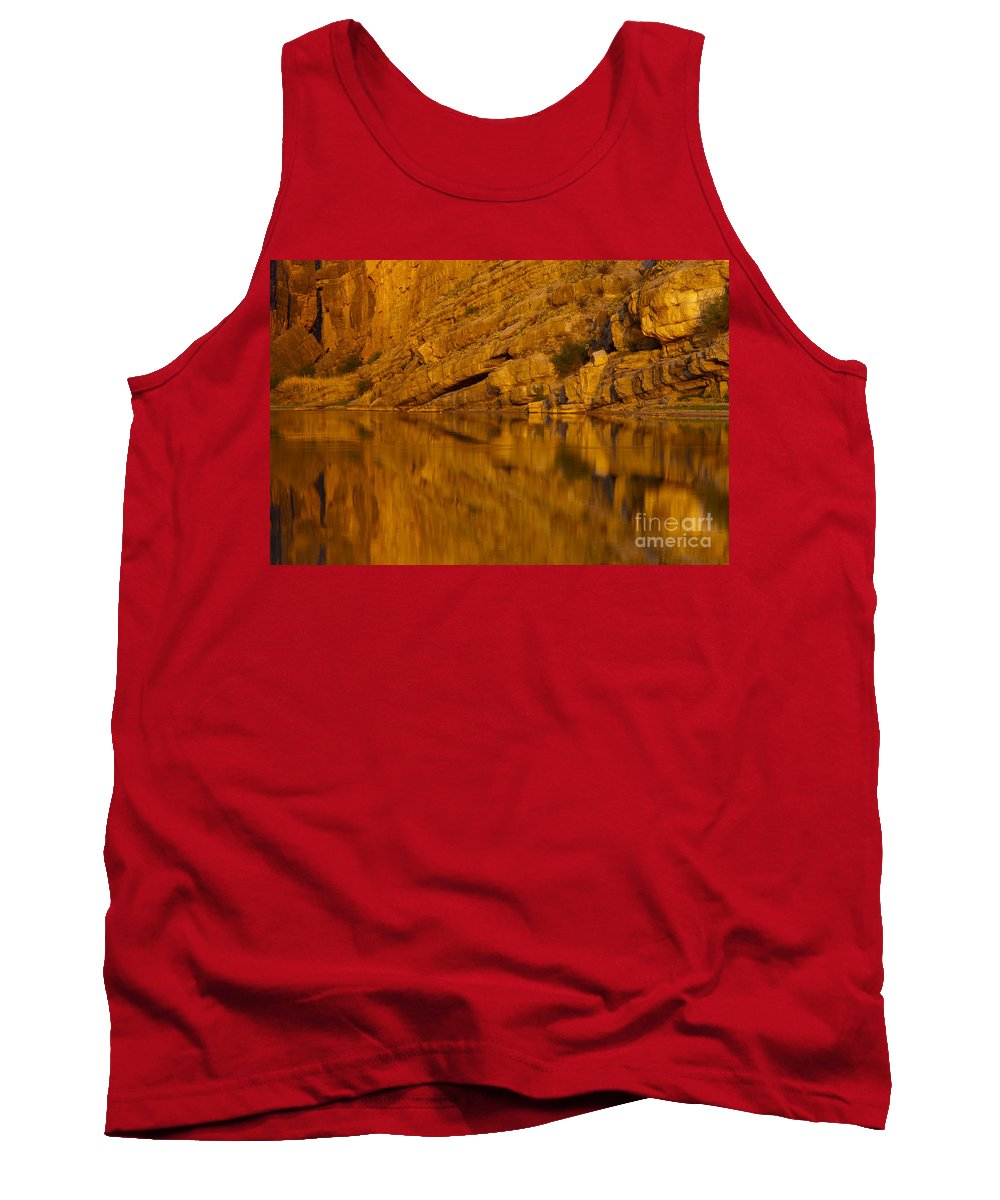Santa Elena Canyon Big Bend National Park Texas Parks Canyons Rio Grande River Rivers Water Reflection Reflections Rock Rocks Stone Stones Landscape Landscapes Waterscape Waterscapes Tank Top featuring the photograph Early Morning Reflection by Bob Phillips