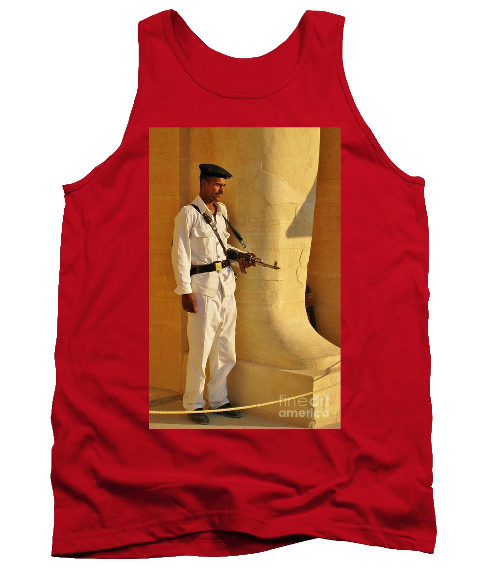 Egypt Tourist Security Tank Top featuring the photograph Egypt Tourist Security by John Malone