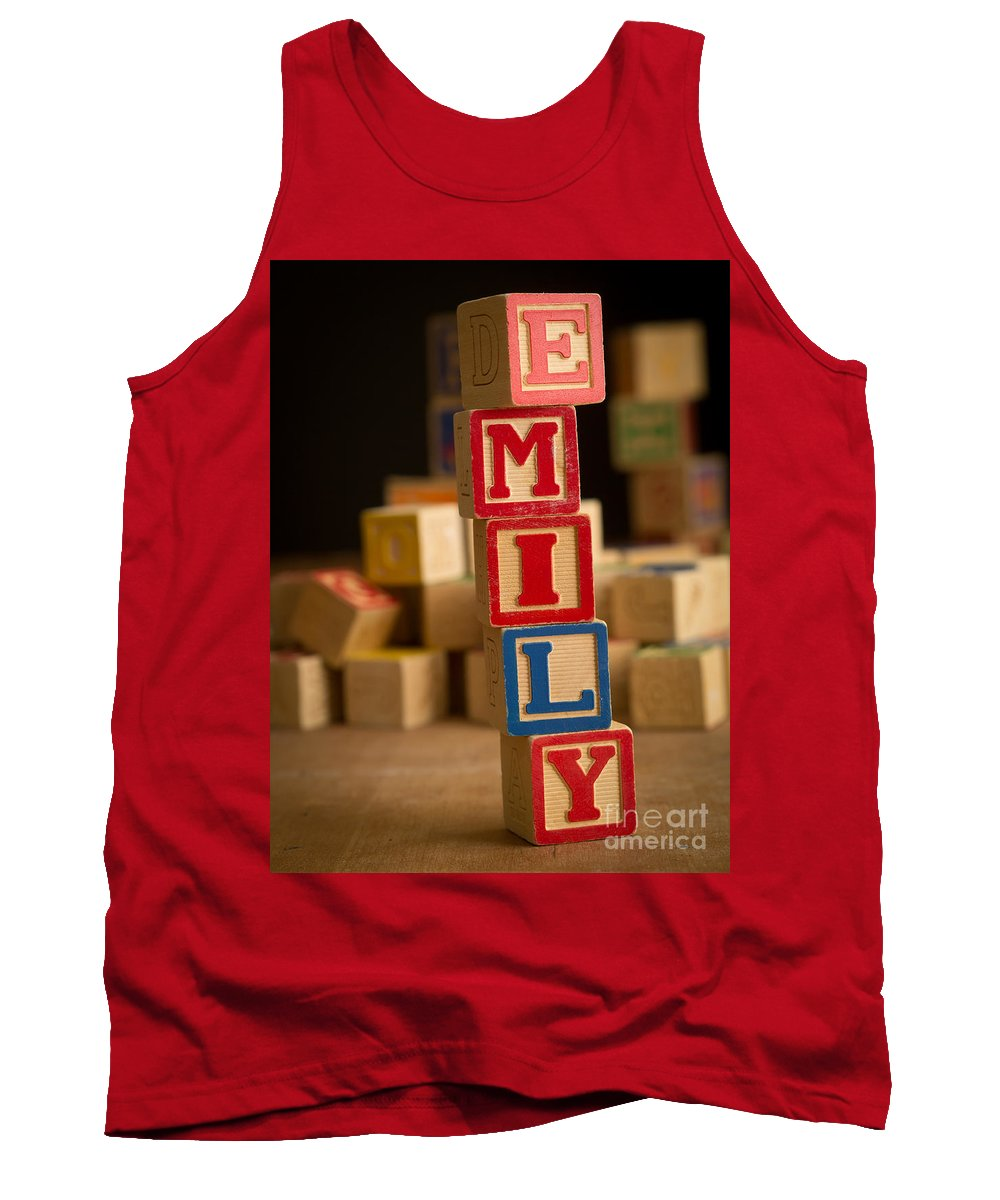 Alphabet Tank Top featuring the photograph Emily - Alphabet Blocks by Edward Fielding