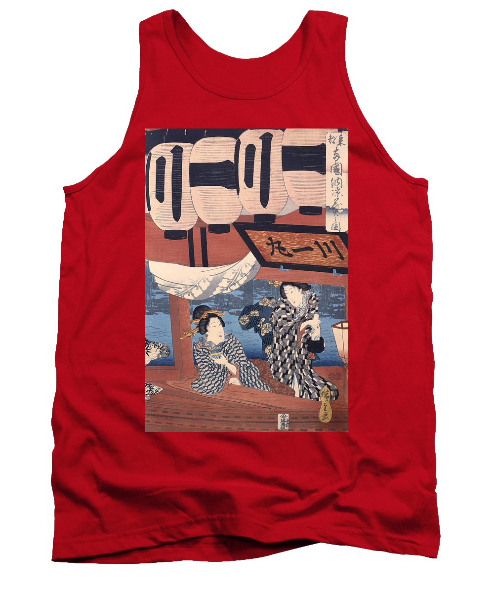 Painting Tank Top featuring the painting Enjoying The Fireworks And The Cool Of The Evening by Mountain Dreams